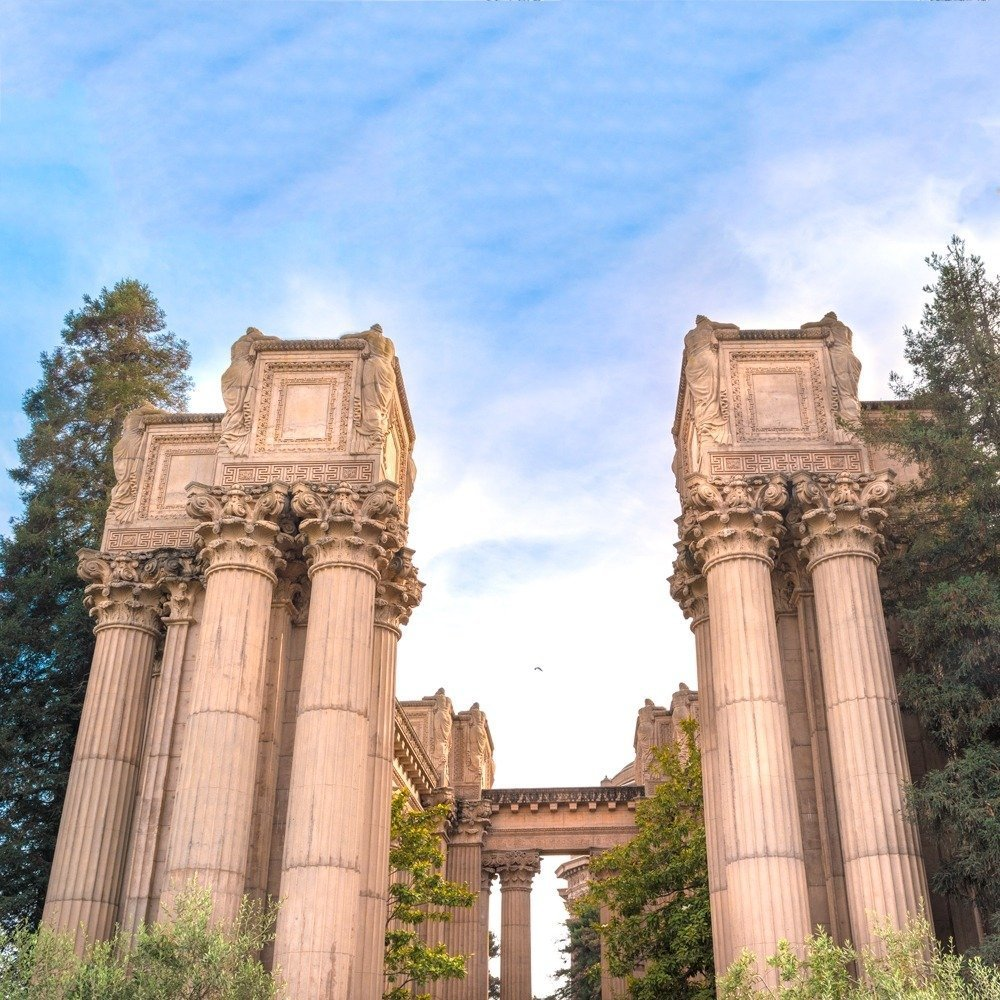 The Golden Gate Bridge And The Palace Of Fine Arts in San Francisco